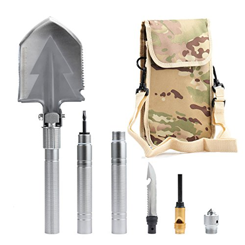 Military Portable Folding Arm Shovel – Tactical Survival Shovel Entrenching Tool/Multi-function Cam Shovel with Waist Carrying Pouch for Camping/Hunting/Hiking/Backpacking/Fishing/Gardening/Car Emerge (Arms Military Small)