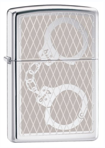 High Polish Cuff - Zippo High Polish Chrome Handcuff Bling Lighter
