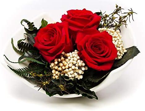 Mazzo Di Fiori Senza Acqua.Rose Te Amo Premium Mazzo Di Fiori In 3 Rose Conservate In Vaso Di