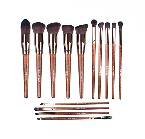 eup brush set, Start-To-Finish collection for all coverage with professional synthetic bristle within Blending, Contour, Highlight, Smudge, Buffing beauty tools. (Natural Deluxe) ()