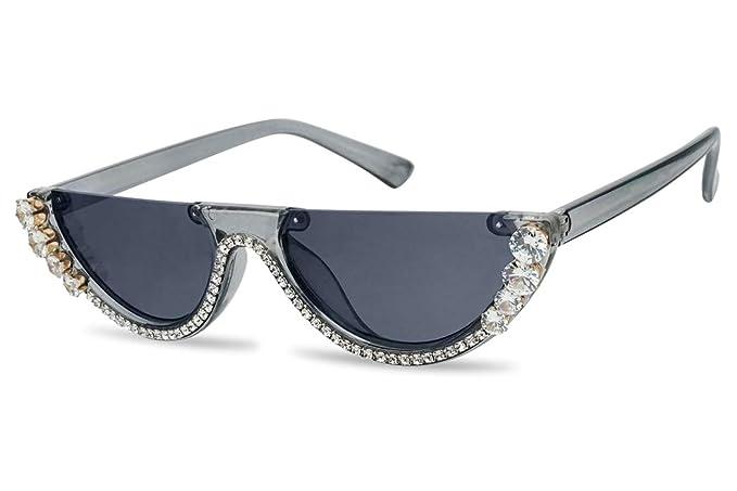 SunglassUP Half Moon Diamond Studded Rhinestone Sunglasses Semi-Rimless Embellished Cat Eye Clout Frame