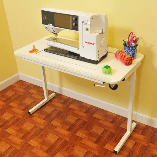Arrow Gidget II Home Indoor Adjustable Sewing Machine Sturdy Craft Table White - Sewing Machine Cabinets And Tables