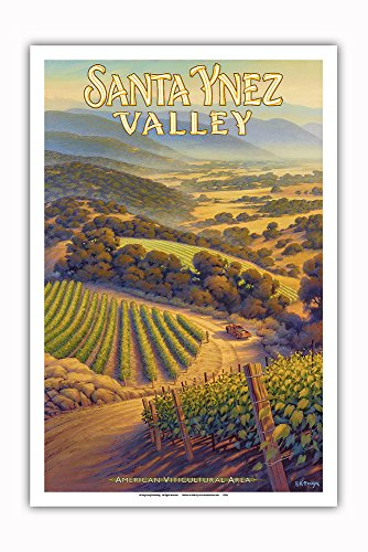 Pacifica Island Art - Santa Ynez Valley Wineries - Central Coast AVA Vineyards - California Wine Country Art by Kerne Erickson - Master Art Print - 12in x 18in