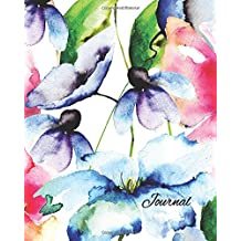 Journal: Watercolor Flowers 8x10 - LINED JOURNAL - Journal with lined pages - (Diary, Notebook) (8x10 Watercolor Flowers Lined Journal Series)