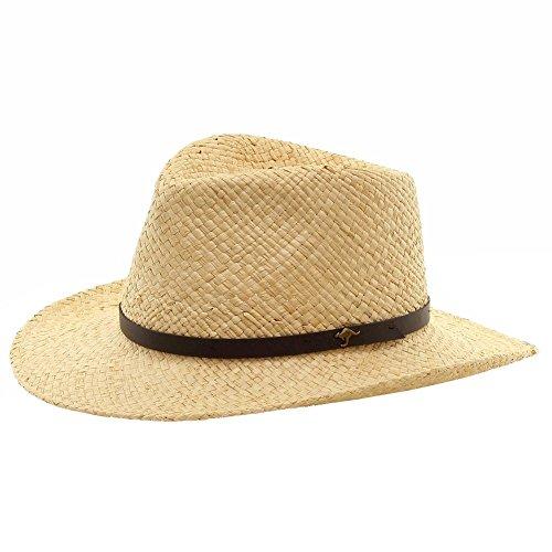 (Scala Men's Natural Raffia With Kangaroo Logo Outback Hat Sz: L/XL)