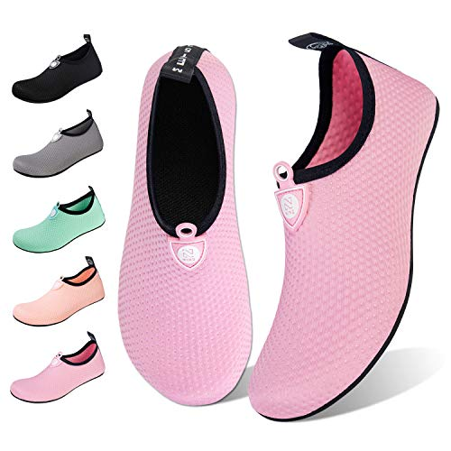 Water Shoes for Womens Mens Barefoot Quick-Dry Aqua Socks for Beach Swim Surf Yoga Exercise New Translucent Color Soles (Dots-Pink, 38/39)]()