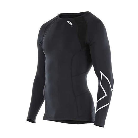 83d8310b83 2XU Men's Long Sleeve Compression Top, Black/Silver X, X-Small