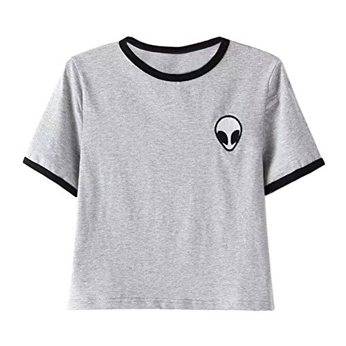 UR Ladies Teen Girls Short Sleeve Funny Cute Alien Crop Top T-Shirt