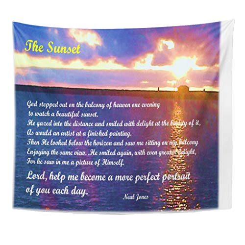 Semtomn Tapestry Artwork Wall Hanging The Sunset Inspirational Poem Life Inspiration 50x60 Inches Tapestries Mattress Tablecloth Curtain Home Decor Print -