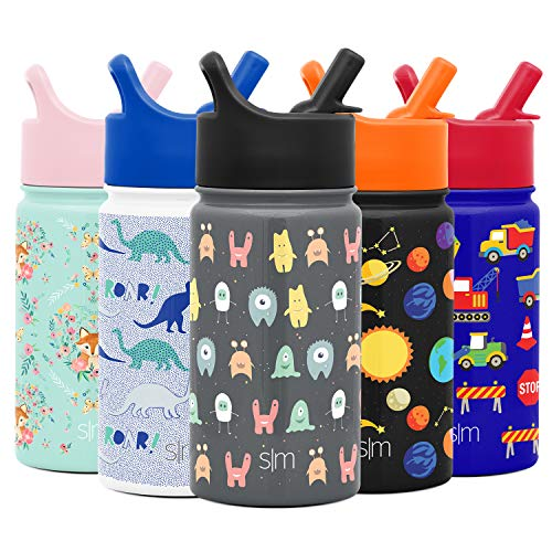 Simple Modern 14oz Summit Kids Water Bottles with Straw Lid Sippy Cup – Dishwasher Safe Vacuum Insulated Tumbler Double Wall Travel Mug 18/8 Stainless Steel Flask – Little Monsters
