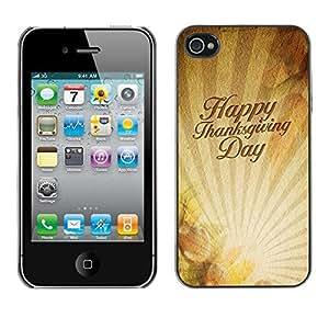 YOYO Slim PC / Aluminium Case Cover Armor Shell Portection //Christmas Holiday Happy Thanksgiving Day 1160 //Apple Iphone 4