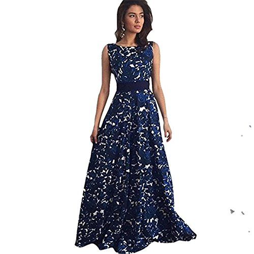 Dress Women, kaifongfu sexy woman flower long Dew party prom dress evening Wedding Dress (M, Blue) (Dew Flowers)