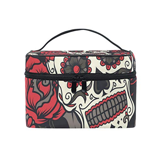 JUMBEAR Travel Cosmetic Bag Halloween Sugar Skull Toiletry Makeup Bag Pouch Tote Case Organizer Storage for Women Girls