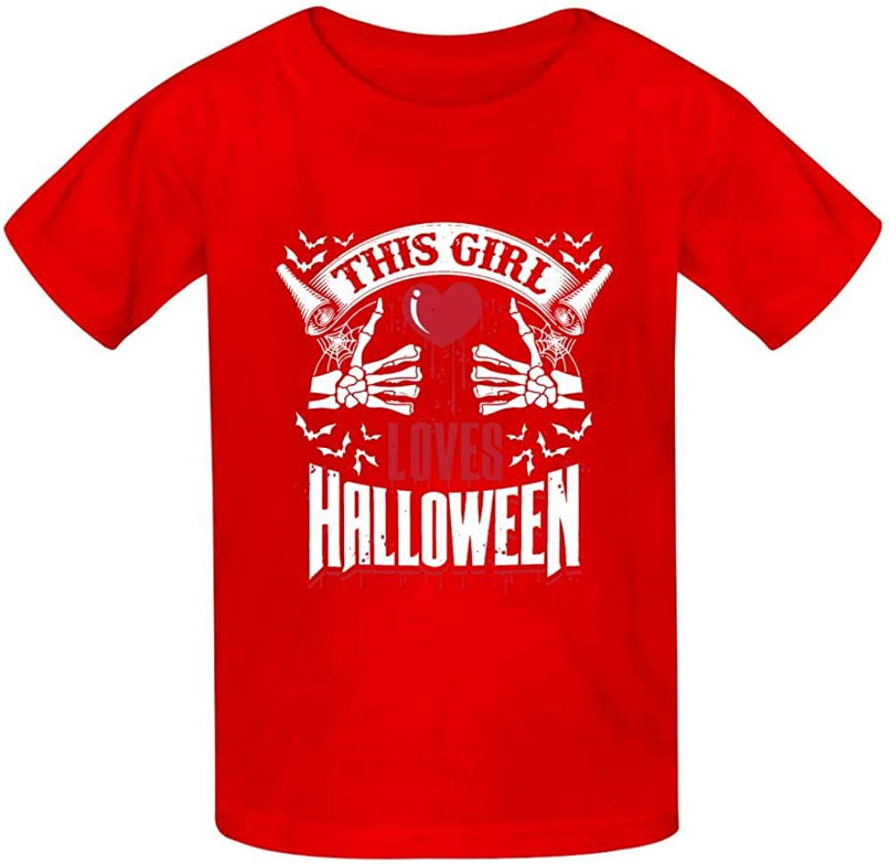 This Girl Love Halloween T Shirt Cute Funny Boys and Girls Tee Top