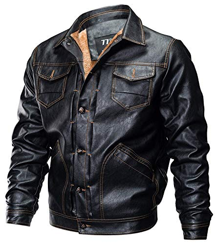 Sleeve Jacket with Faux Pocket Fashion Fleece Long Lapel Apparel Lined Mens Black Moto Multi Vintage Autumn Biker Winter Warm Outwear Coat Leather Jacket Leather Huixin Jackets PYHTw