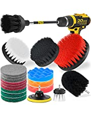 Holikme 15Piece Drill Brush Attachments Set,Black Scrub Pads & Sponge, Power Scrubber Brush with Extend Long Attachment All Purpose Clean for Grout, Tiles, Sinks, Bathtub, Bathroom, Kitchen & Automo