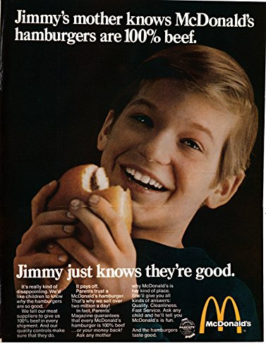 1969 McDonald's Hamburger 100% Pure Beef-Parental Ok-Original 13.5 * 10.5 Mag Ad