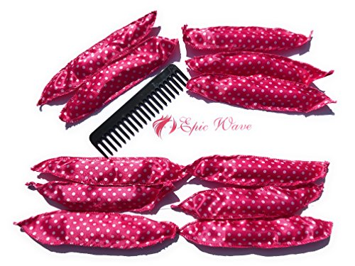 Epic Wave 30 Pack Soft Rollers Natural Hair Rollers No Heat Night Curlers - Long Hair Curlers - Plus 2 Bonus Curly Hair Styling Tools - Epic Materials