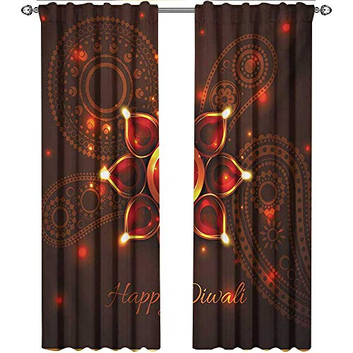 (Diwali, Curtains Blackout, Paisley Design Backdrop with Beams and Diwali Wishes Candles Tribal Celebration, Curtains Kitchen Window Set, W108 x L108 Inch, Bronze Brown )