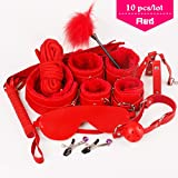 Embiofuels(TM) 10 pcs/lot S e xy Products Set S e x Bondage Kit A d u l t Games Toys Set Hand Cuffs Footcuff W h i p Rope Blindfold Mask Mouth Gag Couples(Red)