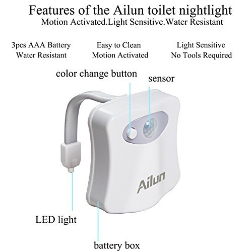 Toilet Night Light[2Pack]by Ailun,Motion Activated LED Light,8 Colors Changing Toilet Bowl Nightlight for Bathroom[Battery Not Included] Perfect Decorating Combination Along with Water Faucet Light by Ailun (Image #6)