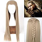 Hot Sale ! The Hobbit The Battle of the Five Armies Legolas Wig with Braid Long Straight Men Movie Cosplay Wig Free Shipping