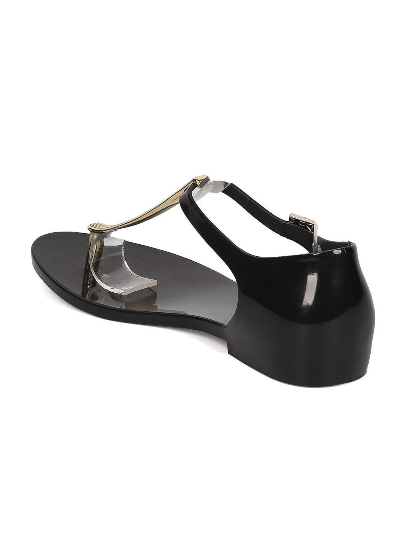 Melissa T-Strap Honey Chrome Jelly Metallic T-Strap Melissa Flat Sandal GH17 B06XYR1N3M 6 M US Black 5bf928