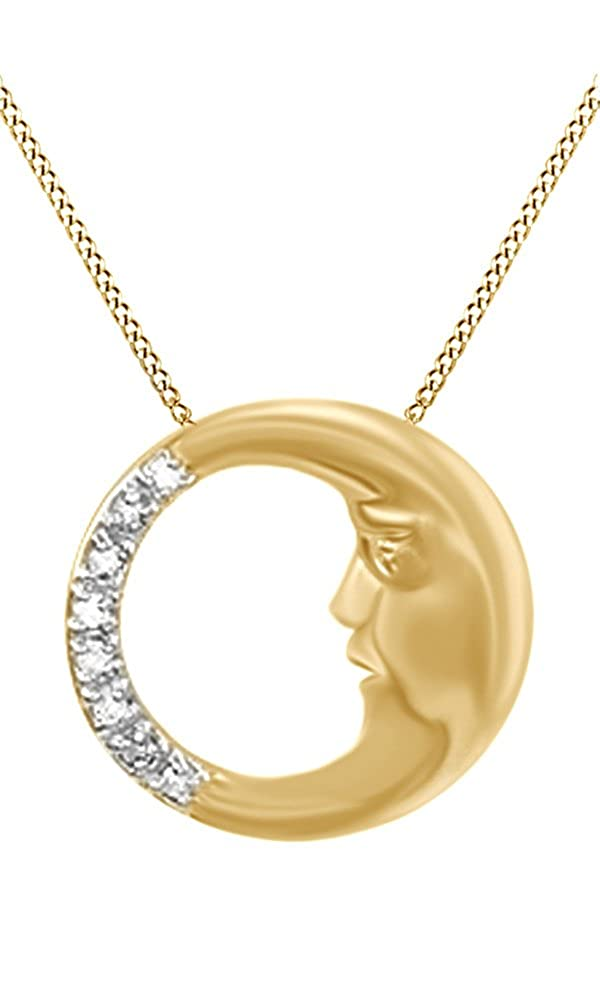 Jewel Zone US Natural Diamond Moon Pendant Necklace 14k Gold Over Sterling Silver 1//10 Ct
