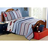 3 Piece Red Blue Plaid Kids Full Queen Quilt Set, Cabin Lodge Stripe Theme Bedding, Checkered Squares Check Lumberjack Rugby Stripes Pattern Tartan Madras Patchwork Reversible Firetrucks Casual,Cotton