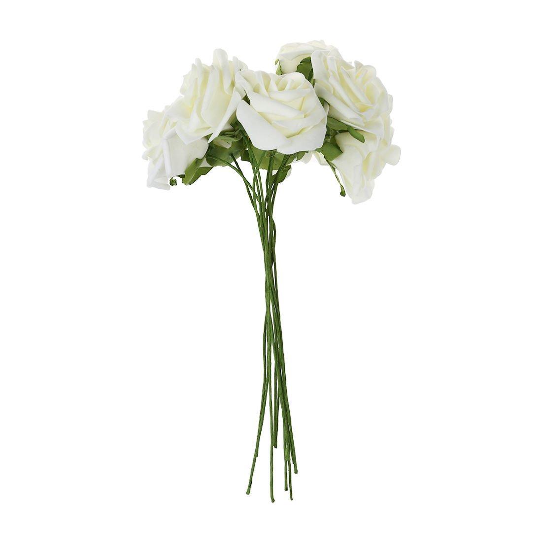 Foam flowers amazon sodialr ivory artificial foam rose bouquet 10 pe floral flowers bridal wedding decor mightylinksfo