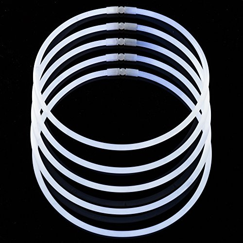 50-Pack White Glow Stick Necklaces by CoBeeGlow | Bulk Pack of 22 Inch GlowStick with Connectors | Non-Toxic and Safe for Kids| 6mm Thick For More Glow: Bring Joy To Your Life
