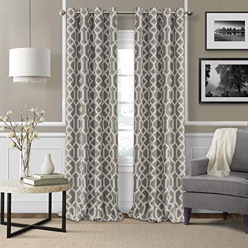 Grayson Panel - Elrene Home Fashions Grayson Room Darkening Ironwork Print with Silver Grommets Window Panel 52-Inch by 84-Inch, Gray