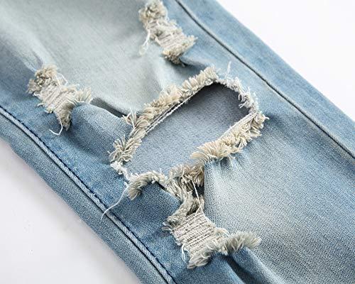 Hommes Noir Trou Blue Jeans Pantalons Haute Rétro black Confortable Gzyd 42 Élasticité Pour Vêtements Bleu WaExfn6z
