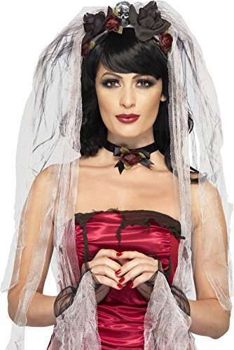 Smiffy's Women's Gothic Bride Kit, Veil, Choker and Glove...