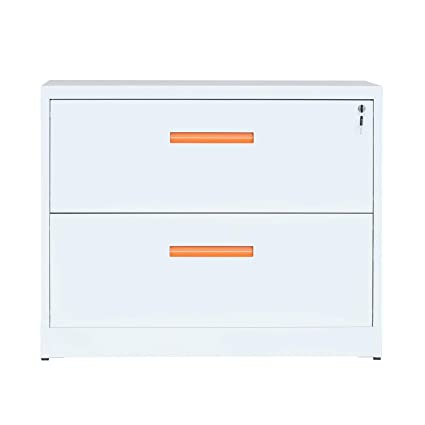 Stupendous Modernluxe Lateral File Cabinet With Lock 2 Drawer Filing Cabinet For Office Home White Metal Interior Design Ideas Jittwwsoteloinfo
