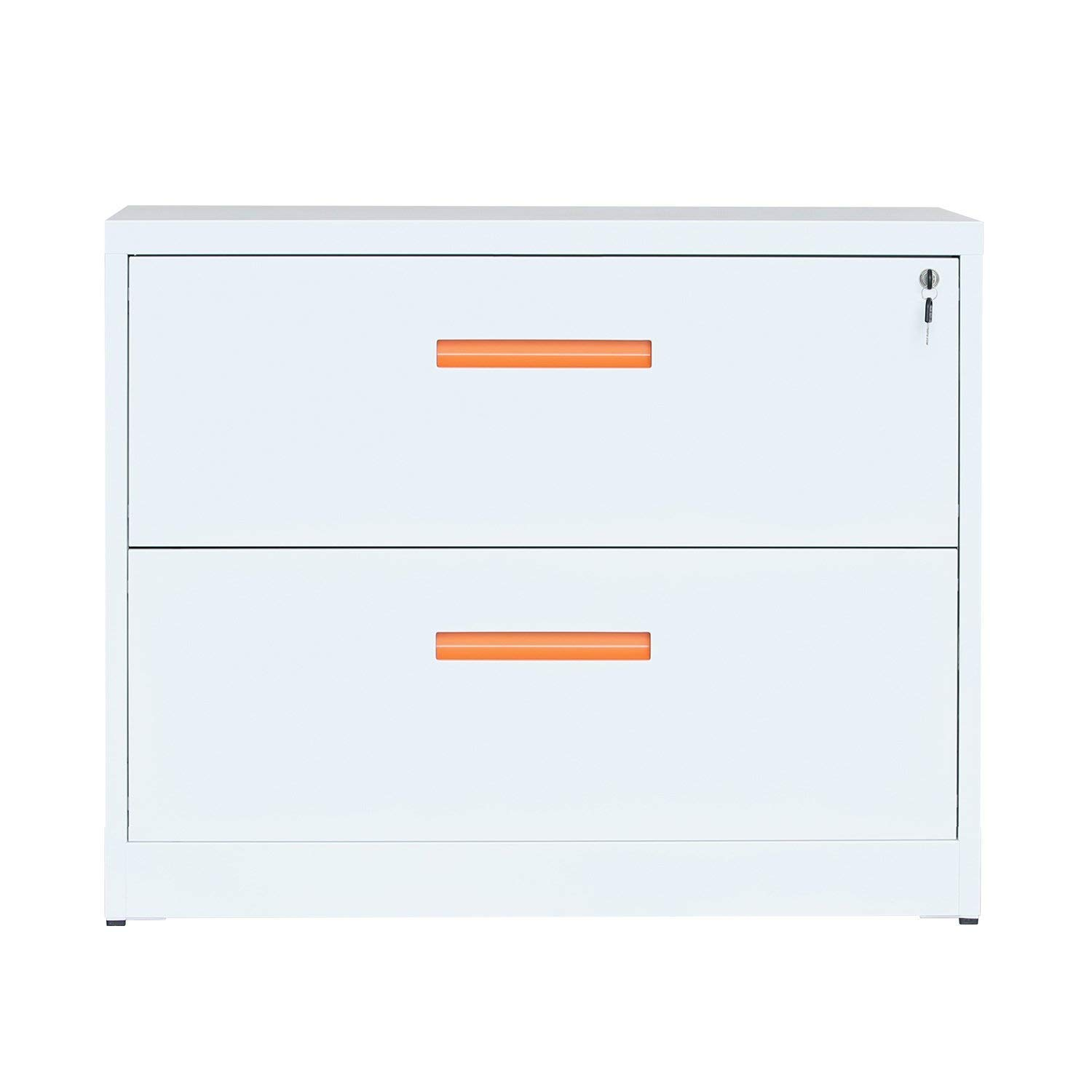 ModernLuxe Lateral File Cabinet with Lock, 2 Drawer Filing Cabinet for Office Home, White, Metal