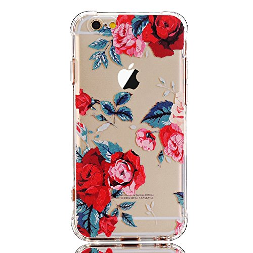 LUOLNH Slim Shockproof Clear Floral Pattern Soft Flexible TPU Back Cover Case Compatible with iPhone 6/6s [4.7 inch] -Red Rose