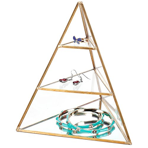 MyGift 3-Tier Glass Pyramid Jewelry Stand Display Case with Vintage Style Brass Tone Metal ()