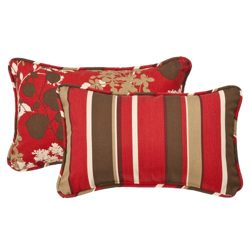 Pillow Perfect Decorative Red/Brown Floral/Striped Toss Pillow, Rectangle Reversible, 18-1/2 Length, 2-Pack