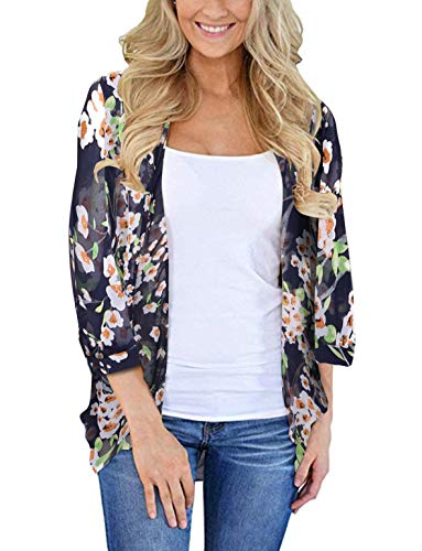 Womens Kimono Cardigan Beach Cover Up Floral Chiffon Loose Capes (Blue,2XL)