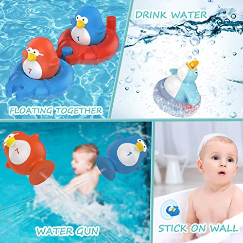 TOYOKID Bath Toys Bathtub Toy for Toddlers Kids Babies 1 2 3 4 Years Old Boys and Girls, 1 Floating Penguin with Music and LED Light, 2 Squirting Cute Toy Baby Bath Toy
