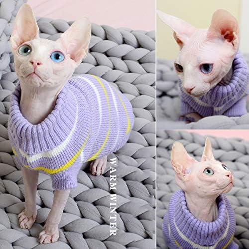 Bonaweite Hairless Cats Stripe Vest Turtleneck Sweater, Breathable Adorable Cat Wear Shirt Clothes, Cat's Pajamas Jumpsuit for Sphynx, Cornish Rex, Devon Rex, Peterbald 23