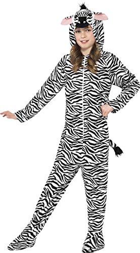 Smiffys Children's Unisex All In One Zebra Costume, Jumpsuit With Hood, (Halloween Event 2017 Uk)