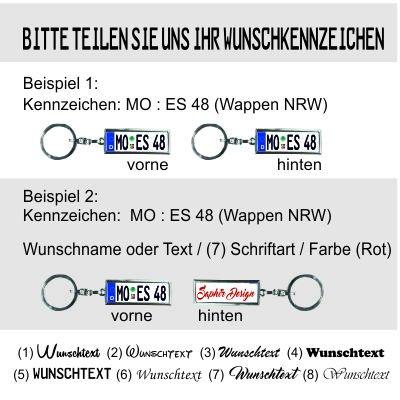 Saphir Design Mini Kennzeichen//Schl/üsselanh/änger in Hoher Qualit/ät mit KFZ Autokennzeichen Wunschkennzeichen - personalisiertes Schl/üsselanh/änger