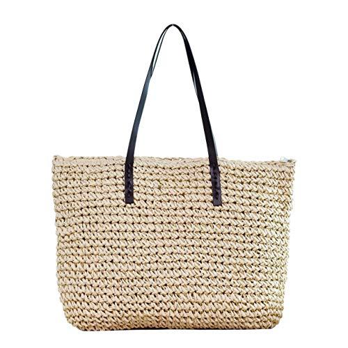 Ayliss Women Straw Woven Tote Large Beach Handmade Weaving Shoulder Bag Handbag (Beige)