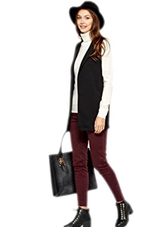 dc53335e24b986 Black Sleeveless Blazer  Amazon.co.uk  Clothing