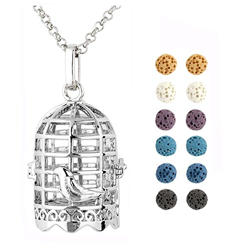 """Price comparison product image JOVIVI 12 Dyed Lava Stone Aromatherapy Essential Oil Diffuser Birdcage Locket Pendant Necklace 28"""" With Gift Box"""