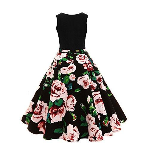 Women Dresses Godathe Women Sleeveless Floral Hepburn Vintage Button High-Waist Pleated Dress S-XL -