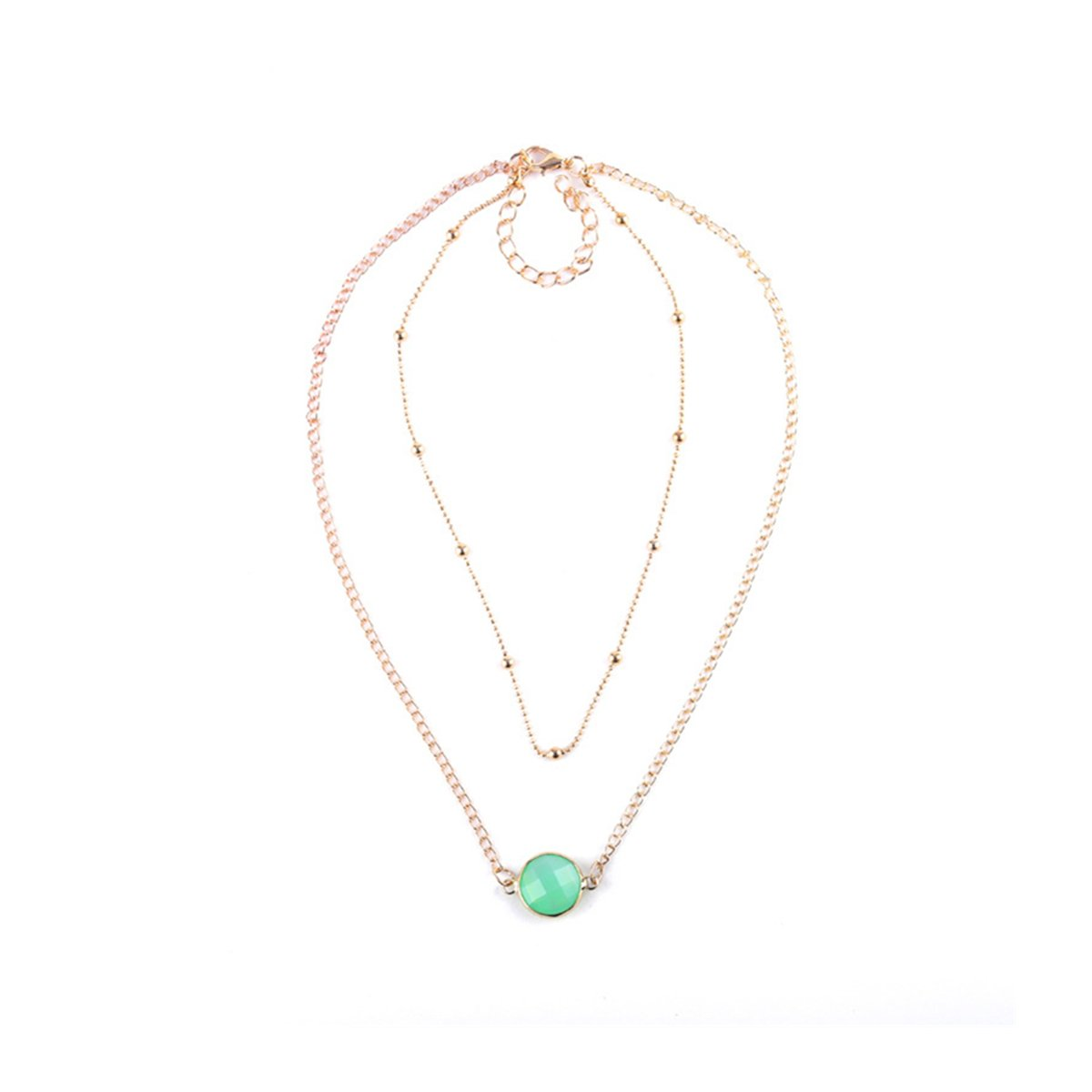 Anqifull Dainty Layered Gold Chocker Handmade Beads Fill Heart White Opal Necklace for Women Girls AQ GOLD AGATE001