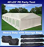 40'x20' PE Party Tent White - Heavy Duty Wedding Canopy Carport Shelter - with Storage Bags - By DELTA Canopies